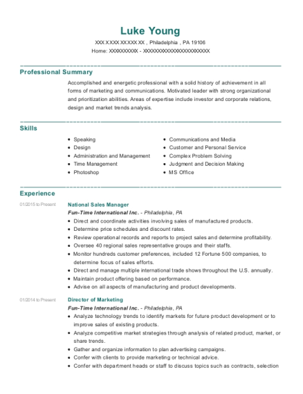 National Sales Manager resume template Pennsylvania