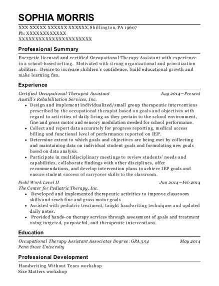 Certified Occupational Therapist Assistant resume example Pennsylvania