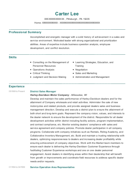 District Sales Manager resume format Pennsylvania