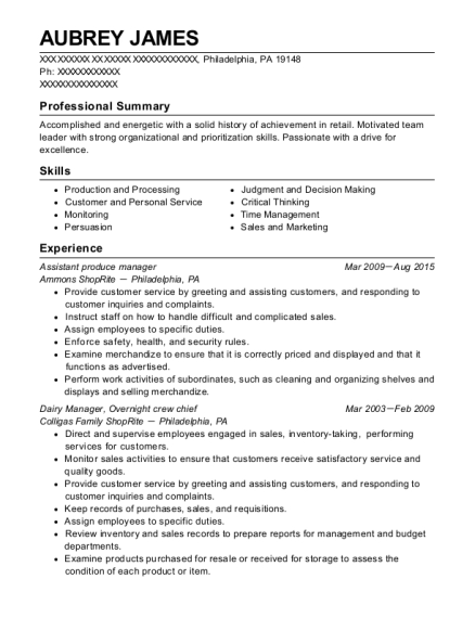 Assistant produce manager resume format Pennsylvania