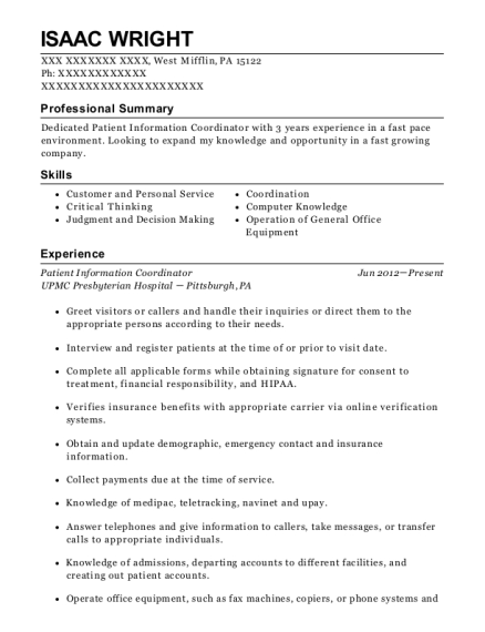 Upmc Patient Information Coordinator Resume Sample - Pittsburgh