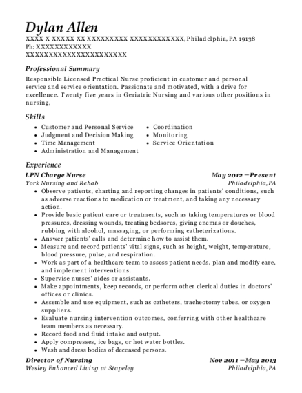 LPN Charge Nurse resume example Pennsylvania