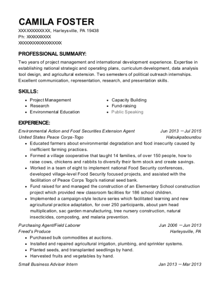 Environmental Action and Food Securities Extension Agent resume sample Pennsylvania
