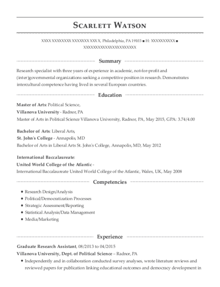 Graduate Research Assistant resume template Pennsylvania