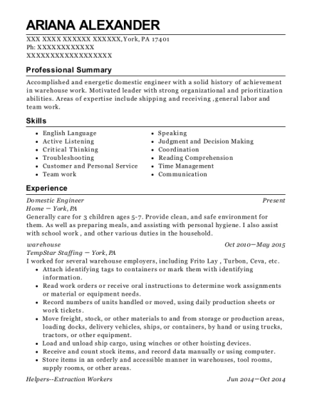 Domestic Engineer resume template Pennsylvania