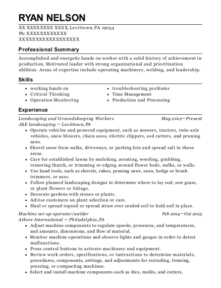Landscaping and Groundskeeping Workers resume format Pennsylvania