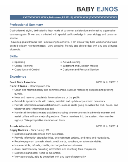 Front Desk Associate resume example Pennsylvania