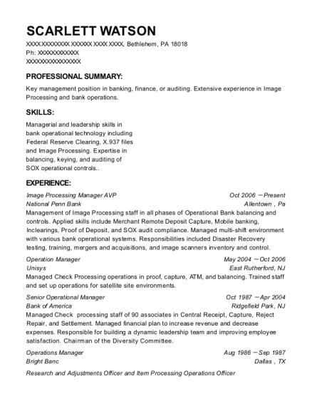 Image Processing Manager AVP resume sample Pennsylvania