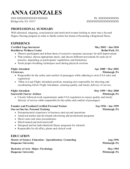 Certified Yoga Instructor resume format Pennsylvania