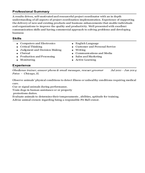 Obedience trainer resume sample Pennsylvania