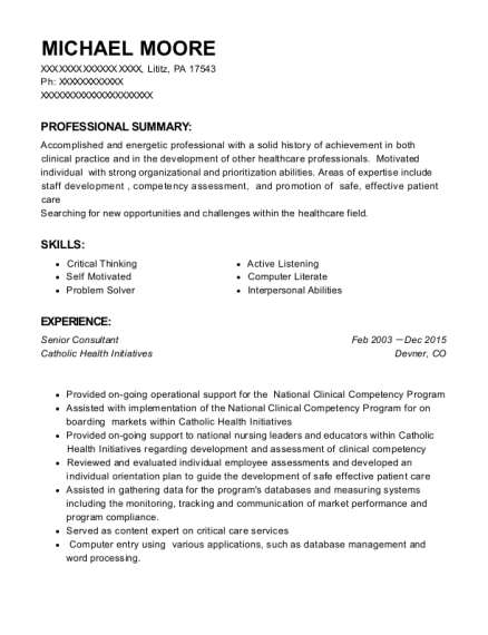 Senior Consultant resume sample Pennsylvania