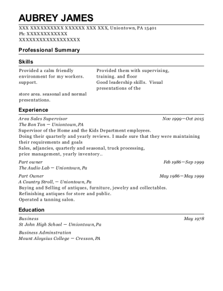 Area Sales Supervisor resume template Pennsylvania
