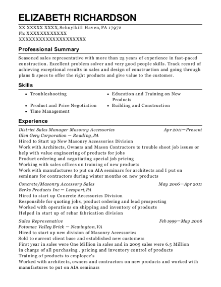 District Sales Manager Masonry Accessories resume example Pennsylvania