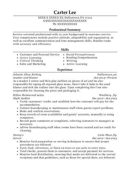 masker and blaster resume sample Pennsylvania