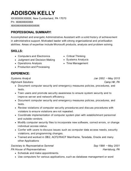 Systems Analyst resume template Pennsylvania