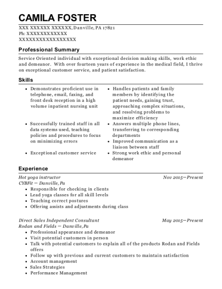 Hot yoga instructor resume sample Pennsylvania