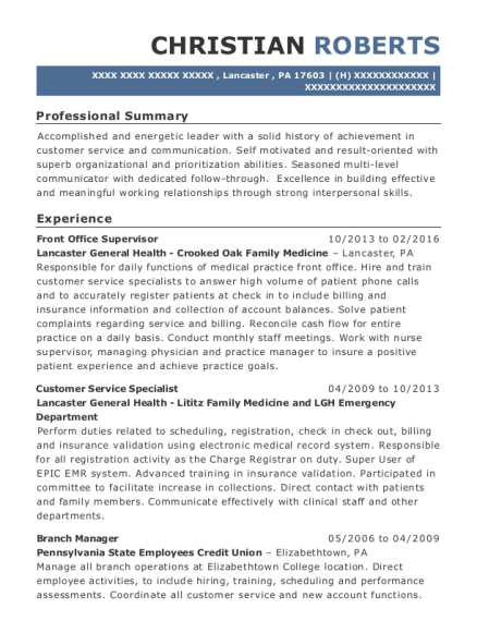 Front Office Supervisor resume example Pennsylvania