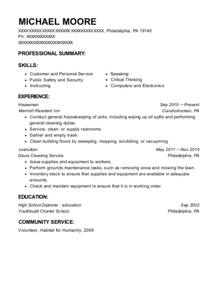 Houseman resume template Pennsylvania