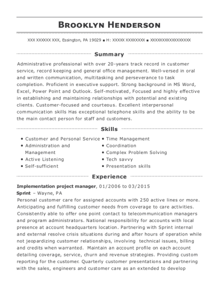 sprint solutions implementation project manager resume sample