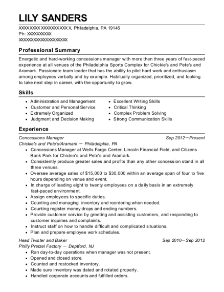 Concessions Manager resume sample Pennsylvania