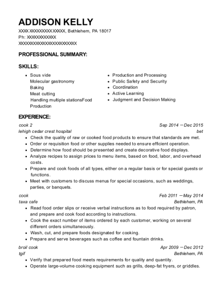 cook 2 resume format Pennsylvania