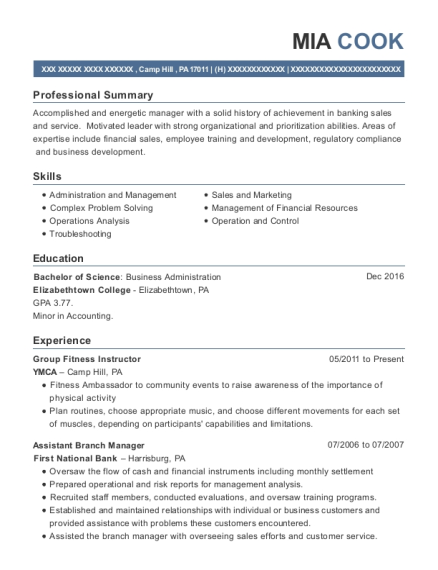 Group Fitness Instructor resume example Pennsylvania