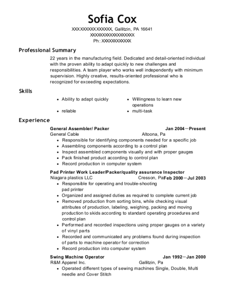 General Assembler resume example Pennsylvania