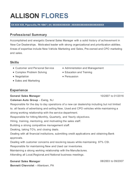 General Sales Manager resume template Pennsylvania