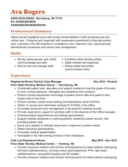 Registered Nurse Clinical Case Manager resume sample Pennsylvania