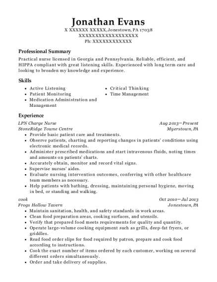 LPN Charge Nurse resume sample Pennsylvania