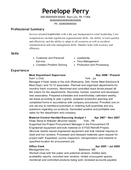 Meat Department Supervisor resume example Pennsylvania