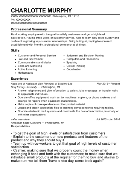 Assistant of Assistant Vice Principal of Student Life resume template Pennsylvania