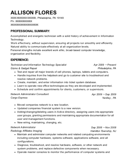 Technician and Information Technology Specialist resume example Pennsylvania