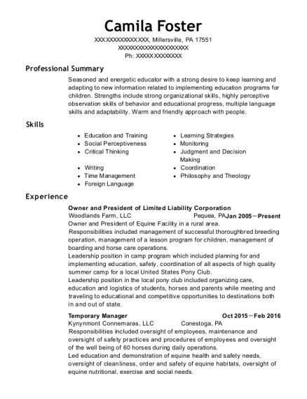 Owner and President of Limited Liability Corporation resume template Pennsylvania