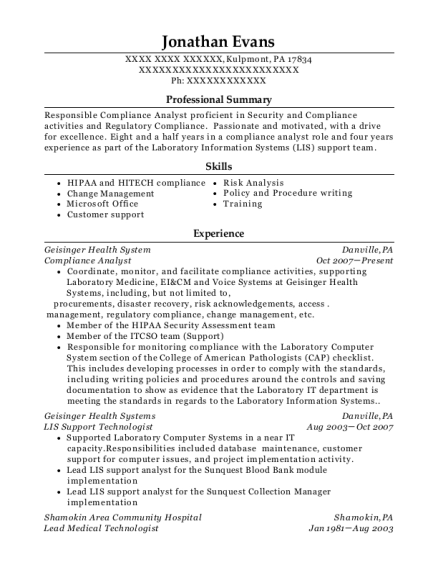 Compliance Analyst resume sample Pennsylvania