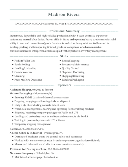 Assistant Shipper resume template Pennsylvania