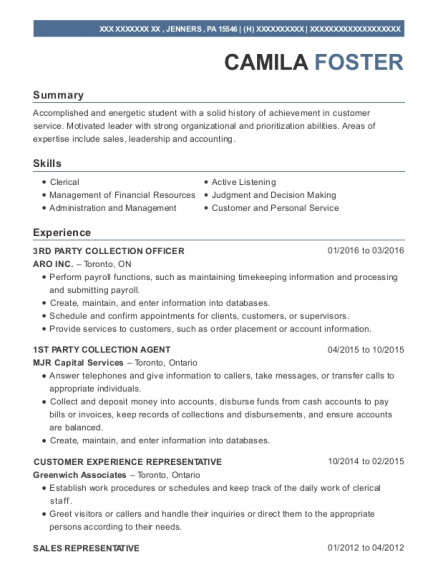 3RD PARTY COLLECTION OFFICER resume format Pennsylvania