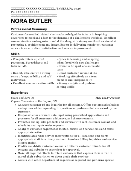 Sales and Service resume example Pennsylvania