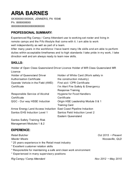 Retail Butcher resume template Pennsylvania