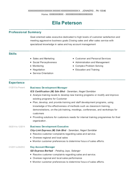 Business Development Manager resume example Pennsylvania