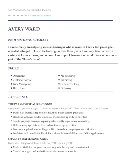 Assistant Property Manager and Leasing Agent resume format Pennsylvania