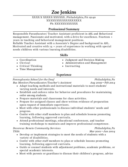 Bus Monitor resume sample Pennsylvania