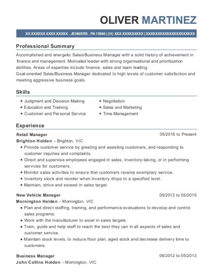 Retail Manager resume example Pennsylvania