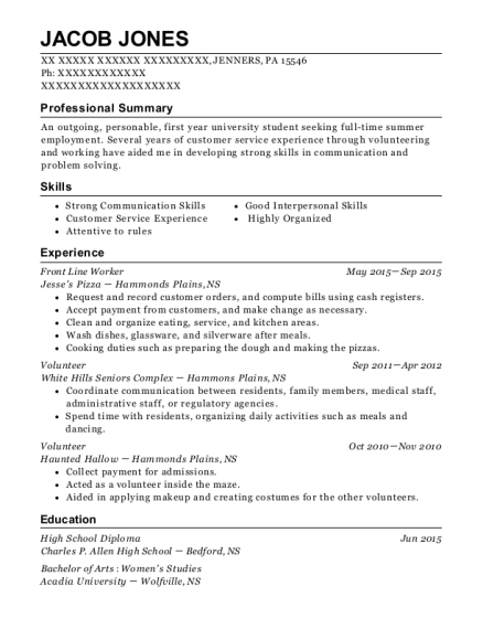 Front Line Worker resume example Pennsylvania