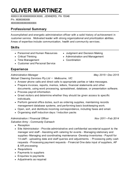 Administration Manager resume template Pennsylvania