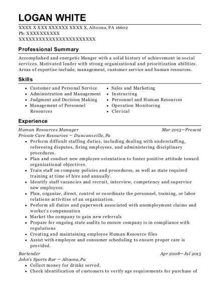 Human Resources Manager resume template Pennsylvania