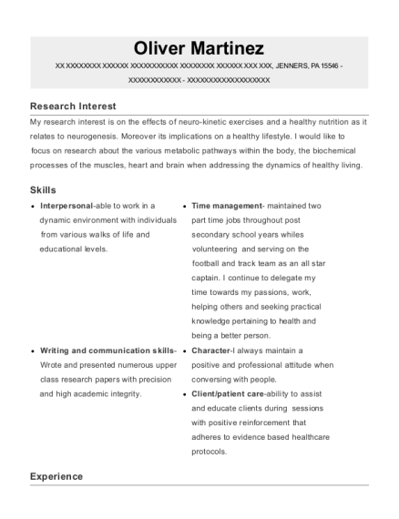 Physiomed clinic Active care specialist resume example Pennsylvania