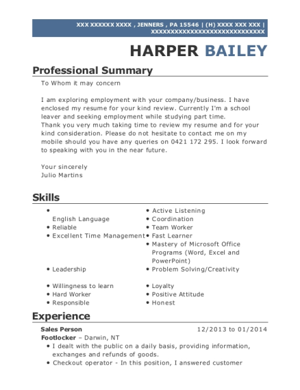 Sales Person resume example Pennsylvania