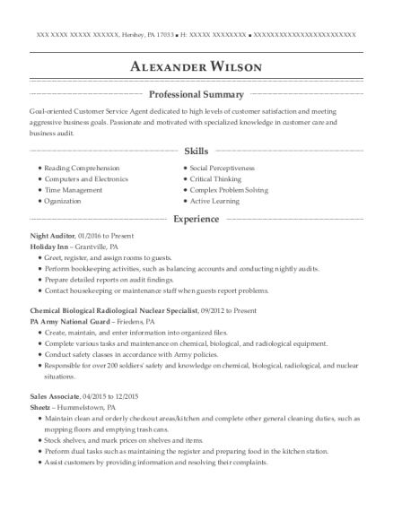 Night Auditor resume format Pennsylvania