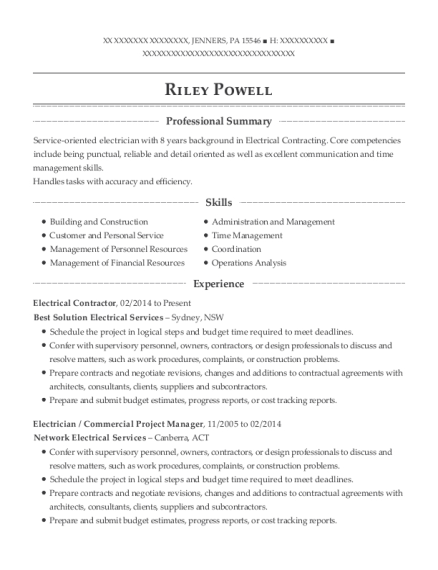 Electrical Contractor resume example Pennsylvania